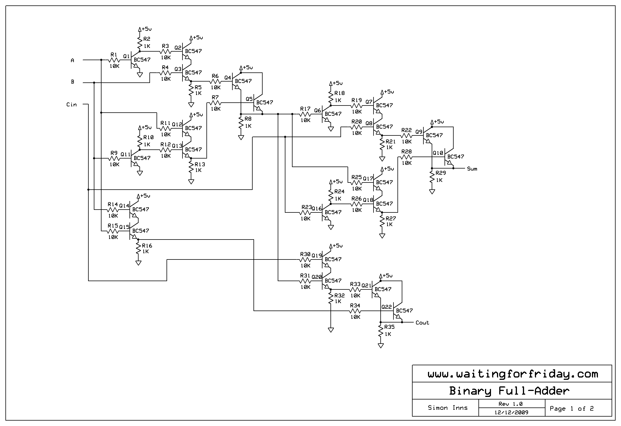 My 4-bit electronic binary calculator using transistors and how